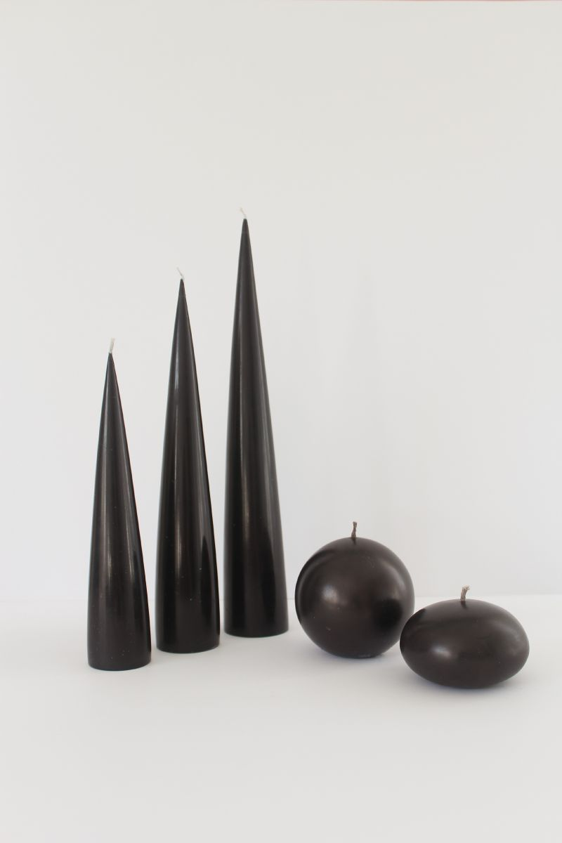image of black cone candles black ball candle and black pillar candle
