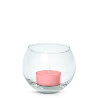 Coral Pink Moreton Eco Tealight in Fishbowl, Pack of 6